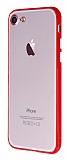iPhone 7 / 8 Metal Tuşlu Kırmızı Silikon Kenarlı Şeffaf Kılıf