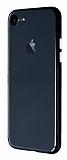 iPhone 7 / 8 Metal Tuşlu Siyah Silikon Kenarlı Şeffaf Kılıf