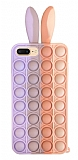iPhone 7 Plus / 8 Plus Push Pop Bubble Tavşan Mor-Pembe Silikon Kılıf