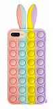 iPhone 7 Plus / 8 Plus Push Pop Bubble Tavşan Mor-Sarı Silikon Kılıf