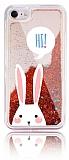 iPhone 7 / 8 Simli Sulu Tavşan Resimli Kırmızı Silikon Kılıf