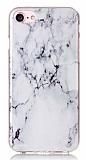 iPhone 7 Granit Görünümlü Beyaz Silikon Kılıf