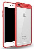 Eiroo Cam Hybrid iPhone 7 Kamera Korumalı Kırmızı Kenarlı Rubber Kılıf