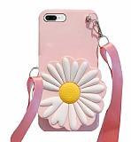 iPhone 7 Plus / 8 Plus Cüzdanlı Boyun Askılı Pembe Papatya Kılıf