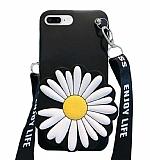 iPhone 7 Plus / 8 Plus Cüzdanlı Boyun Askılı Siyah Papatya Kılıf