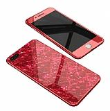 iPhone 7 Plus / 8 Plus 360 Derece Koruma Desenli Manyetik Cam Kırmızı Kılıf