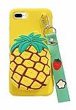 iPhone 7 Plus / 8 Plus Cüzdanlı Boyun Askılı Ananas Kılıf