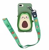 iPhone 7 Plus / 8 Plus Cüzdanlı Boyun Askılı Avokado Kılıf