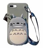 iPhone 7 Plus / 8 Plus Cüzdanlı Boyun Askılı Gri Kedi Kılıf