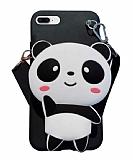 iPhone 7 Plus / 8 Plus Cüzdanlı Boyun Askılı Panda Kılıf