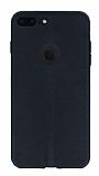 iPhone 7 Plus / 8 Plus Deri Desenli Ultra İnce Siyah Silikon Kılıf