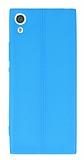 Sony Xperia XA1 Deri Desenli Ultra İnce Mavi Silikon Kılıf