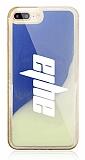 iPhone 7 Plus / 8 Plus Kişiye Özel Neon Kumlu Mavi Silikon Kılıf