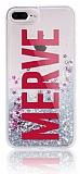 iPhone 7 Plus / 8 Plus Kişiye Özel Simli Sulu Silver Kılıf