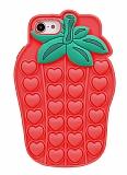 iPhone 7 / 8 Pop-it Çilek Kırmızı Silikon Kılıf