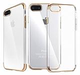 iPhone 7 Plus Gold Çerçeveli Şeffaf Silikon Kılıf