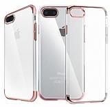 iPhone 7 Plus / 8 Plus Rose Gold Çerçeveli Şeffaf Silikon Kılıf