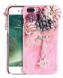 iPhone 7 Plus Çiçekli Peluş Pembe Rubber Kılıf