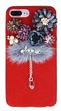 iPhone 7 Plus Çiçekli Peluş Kırmızı Rubber Kılıf