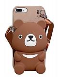 iPhone 7 Plus / 8 Plus Cüzdanlı Boyun Askılı Kahverengi Ayı Kılıf