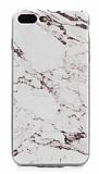 iPhone 7 Plus / 8 Plus Granit Görünümlü Beyaz Silikon Kılıf