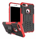 iPhone 7 Plus Süper Koruma Standlı Kırmızı Kılıf
