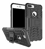 iPhone 7 Plus Süper Koruma Standlı Siyah Kılıf