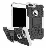 iPhone 7 Plus Süper Koruma Standlı Beyaz Kılıf