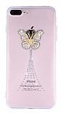 iPhone 7 Plus / 8 Plus Taşlı Kelebek Şeffaf Silikon Kılıf
