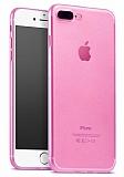 iPhone 7 Plus Ultra İnce Şeffaf Pembe Silikon Kılıf