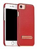 Hoco iPhone 7 Standlı Deri Kırmızı Rubber Kılıf