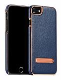 Hoco iPhone 7 Standlı Deri Lacivert Rubber Kılıf