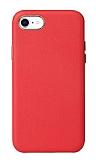 iPhone SE 2020 Metal Tuşlu Kırmızı Deri Kılıf