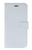 iPhone SE / 5 / 5S Cüzdanlı Kapaklı Beyaz Deri Kılıf