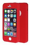 iPhone SE / 5 / 5S 360 Derece Koruma Likit Kırmızı Silikon Kılıf