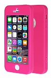 iPhone SE / 5 / 5S 360 Derece Koruma Likit Pembe Silikon Kılıf