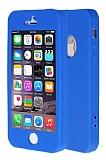 iPhone SE / 5 / 5S 360 Derece Koruma Likit Mavi Silikon Kılıf