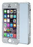 iPhone SE / 5 / 5S 360 Derece Koruma Taşlı Silver Rubber Kılıf
