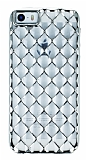 iPhone SE / 5 / 5S Diamond Silver Kenarl� �effaf Silikon K�l�f