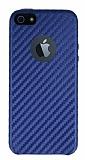 iPhone SE / 5 / 5S Karbon Görünümlü Lacivert Rubber Kılıf