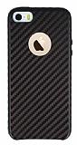 iPhone SE / 5 / 5S Karbon Görünümlü Kahverengi Rubber Kılıf