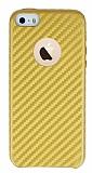 iPhone SE / 5 / 5S Karbon Görünümlü Gold Rubber Kılıf
