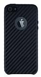 iPhone SE / 5 / 5S Karbon Görünümlü Siyah Rubber Kılıf
