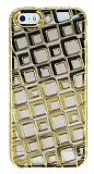 iPhone SE / 5 / 5S Kare Desenli Gold Silikon Kılıf