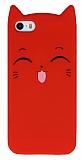 iPhone SE / 5 / 5S Kedili Kırmızı Silikon Kılıf
