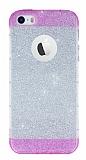 iPhone SE / 5 / 5S Pembe Kenarlı Simli Silikon Kılıf