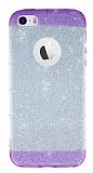 iPhone SE / 5 / 5S Mor Kenarlı Simli Silikon Kılıf