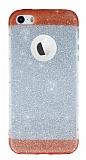 iPhone SE / 5 / 5S Kırmızı Kenarlı Simli Silikon Kılıf