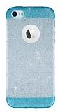 iPhone SE / 5 / 5S Yeşil Kenarlı Simli Silikon Kılıf