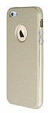 iPhone SE / 5 / 5S Metal Kenarlı Gold Deri Rubber Kılıf